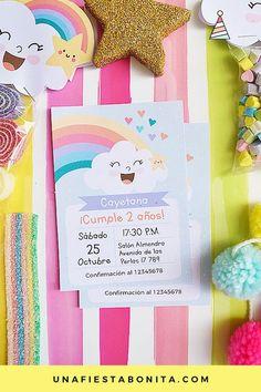 Invitación para imprimir nubes y arcoiris #imprimibles #nubesyarcoiris #acoiris Rainbow Birthday, Baby Birthday, Birthday Parties, Baby Shower Cards, Baby Boy Shower, Rain Baby Showers, Baby Shower Balloons, Unicorn Party, Birthday Invitations