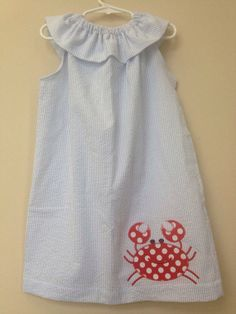 Blue seersucker dress with crab appliqué  by juniperlily on Etsy, $35.00
