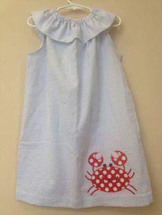 Blue seersucker dress with crab appliqué  by juniperlily on Etsy, $35.00