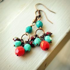 bohemian beaded earrings red and aqua on copper by pixiestrinkets, $7.00