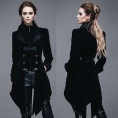 Women Black Velvet Double Breasted Victorian Gothic Dress Trench Coat SKU-11401036