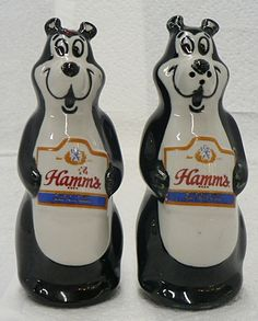 HAMMS BEER BEAR SALT AND PEPPER SET $130
