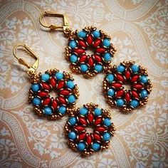 Beaded earrings #jaumanna #Beaded #beading #beads #embroidery #colorful #hippie…