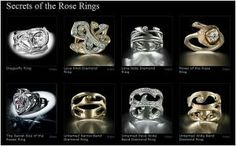 Secrets of the Rose 8 rings top l to r Dragonfly, Love Knot, Forever, Power of the Rose; bottom The Secret Kiss of the Roses, Untamed Narrow band, Untamed band full pave, Untamed band
