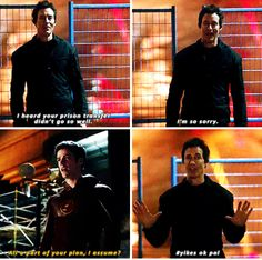 """I heard your prison transfer didn't go so well"" - Dr. Wells and Barry #TheFlash"