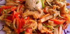 7 tavaszi zöldséges csirke recept - csak a legjobbak! - Receptneked.hu - Kipróbált receptek képekkel Pork Dishes, Kung Pao Chicken, Wok, No Cook Meals, Thai Red Curry, Poultry, Cabbage, Bacon, Meat