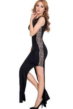 adfb947a6 Black Hollow-Out High Side Slit Dress - D2C Shop Side Slit Dress, Mall