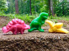 Jumbo Dinosaur BIRTHDAY CANDLES 8.00 by BabyBearCrayons on Etsy