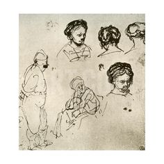 A Page of Sketches, 1913 Giclee Print by Rembrandt van Rijn at Art.com