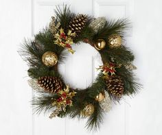 "Pinecone with Gold Ornaments & Berries Wreath, (22"") at Big Lots."