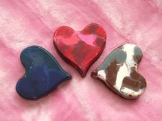 Heart Shaped Crayons of Mixed Colors  Set of 3 by ang744 on Etsy, $2.50
