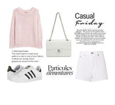 """Casual Friday| Zapatos Adidas- Camisa Larga- Bolso natural- pantalones cortos blancos."" by yonaitismariana on Polyvore featuring rag & bone, H&M, adidas y Chanel"