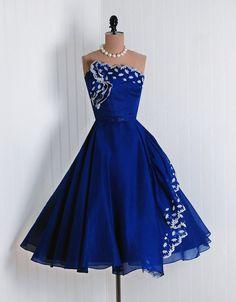 Vintage 1950s offered by Timeless Vixen Vintage. Royal blue I love you! Stunning.