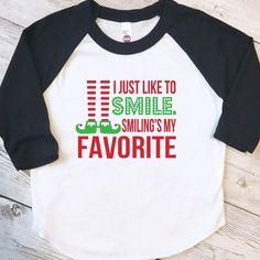 Smilings my favorite shirt, kids christmas, elf shirt, christmas shirt for kids, christmas raglan, Christmas shirt girl, Christmas shirt boy by ShopHartandSoul on Etsy https://www.etsy.com/listing/485357123/smilings-my-favorite-shirt-kids