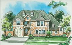 This classic luxury house plan is very open. When you enter the foyer, your eyes will immediately be drawn to the open kitchen, dining room and family room, separated only by the free-standing breakfast bar in the kitchen.