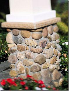 add stone veneer to bottom of deck posts
