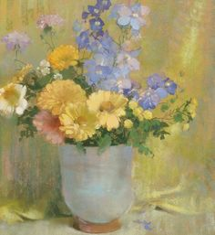 View Yellow zinnias and larkspur by Laura Coombs Hills on artnet. Browse upcoming and past auction lots by Laura Coombs Hills. Art Thomas, Pastel Landscape, Miniature Portraits, Arte Floral, Global Art, Zinnias, Abstract Flowers, American Artists, Beautiful Paintings
