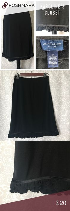 "15% OFF BUNDLES! Ann Taylor 0P 21"" Black Skirt, with ruffle trim, velvet border on the bottom and waistband, and side zipper. Very cute and comfy!!! Ann Taylor Skirts"