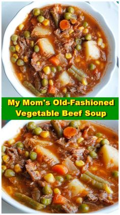 My Mom's Old Fashioned Vegetable Beef Soup – an easy dinner recipe that can be made in the slow cooker! My Mom's Old Fashioned Vegetable Beef Soup – an easy dinner recipe that can be made in the slow cooker! Beef Soup Recipes, Chicken Recipes, Vegetarian Recipes, Cooking Recipes, Healthy Recipes, Beef Soups, Beef Barley Soup, Homemade Vegetable Beef Soup, Vegetable Soup Recipes