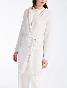 Max Mara TECLA optical white: Wool and cashmere cardigan.