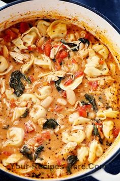 Creamy Tuscan Garlic Tortellini Soup is so easy to make and one of the best soups that you will Ingredients Meat 2 cups Chicken, cooked and shredded Produce 3 cloves Garlic 2 cups Spinach 1 28 ounce can Tomatoes 1 15 ounce can White beans 1 White onion, small Canned Goods 4 cups Chicken broth Pasta & Grains 9 oz Tortellini, refrigerated Baking & Spices 1 tbsp Italian seasoning 1/4 tsp Pepper 1 tsp Salt Dairy 2 tbsp Butter 1 cup Heavy cream 1/4 cup Parmesan cheese, grated