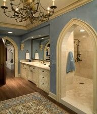 love the way this shower is behind the vanity.