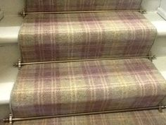 Ulster Carpets Braeburn Myrtle with stairrods. Both available in York from www.styleflooringofyork.co.uk