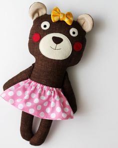 Little sister handmade bear. Stuffed toy bear with a pink by blita