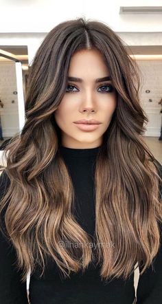 Hair Color Ideas For Brunettes Balayage, Brown Hair Balayage, Brown Blonde Hair, Hair Color Balayage, Blonde Ombre, Balayage Hair Brunette With Blonde, Brown Hair And Brown Eyes, Hair Styles For Brunettes, Hair Color Ideas For Brunettes For Summer