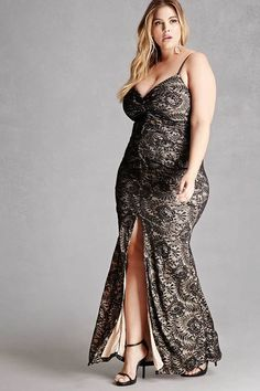 Beautiful #PlusSize Lace Gown With Deep V Neckline For Wedding Party #affiliatelink ( click the image to visit the website)