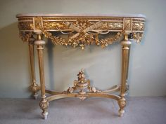 French 19th Century Louis XVI Style Gilt Console Table
