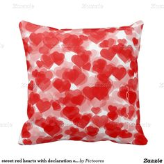 sweet red hearts with declaration of love cushions