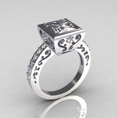Classic Bridal 10K White Gold 25 Carat Square by artmasters, $849.00