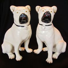 Rare Pair 10 1/2 inch Large Early Antique Staffordshire Pug Dog Figure Figurine