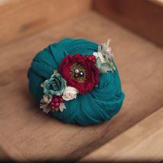 Newborn or Toddler Organic tieback headband - photography prop organic flower…