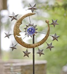 Metal Wind Spinner With Sun, Moon And Stars