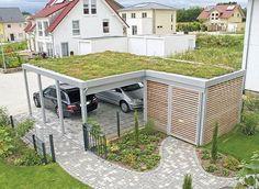 Double carport: The cheap garage alternative - Hof&Garten - Double Carport, Garage Double, Carport Garage, Pergola Carport, Wood Pergola, Diy Pergola, Diy Garage, Garage Bathroom, Carport Designs