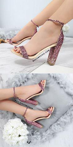 Ombre Glitter Chunky Heels MULTI