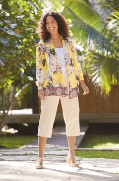 Kim Rogers Plus-Size Women - Ruched Sleeve 2-Fer with Necklace and Slimming solutions capri pants - Create a casually chic look with this must-have duo! Designed for a flattering, trend-right look, this outfit is essential for your wardrobe.