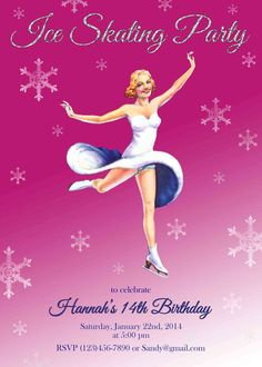 Ice skating Birthday party invitation printable by CupidDesigns, $20.00