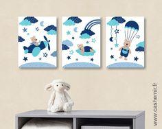 Affiche pour chambre d'enfant et bébé garçon ours avion nuage parachute bleu réf.91 : Décoration pour enfants par cashemir