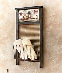 Rustic Old Fashioned Washboard Basket Rack Primitive Country Folk Art Wall Decor