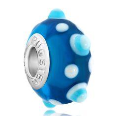 Pugster Murano Glass Bead White Blue Texture Dots Brands Fits Pugster Charm Bracelet: Pugster Murano Glass… #CheapJewelry #DesignerJewelry