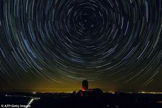 This shows the stars appearing to rotate around Polaris, the North star. It appears that the stars are rotating because of Earth's rotation. This creates a circumpolar star trial, where the stars circle the pole and don't set. The north star is directly above the axis the Earth spins on