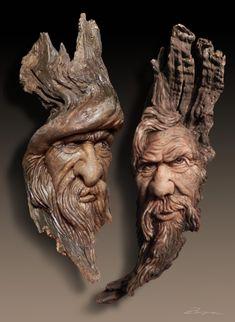 Drift Wood Carvings by Dennis Franzen - Wood Projects Wood Carving Faces, Dremel Wood Carving, Wood Carving Designs, Wood Carving Patterns, Tree Carving, Wood Carving Art, Wood Carvings, Driftwood Sculpture, Driftwood Art