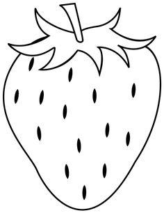 Dessin à imprimer, une fraise Stitch Coloring Pages, Fruit Coloring Pages, Preschool Coloring Pages, Easy Coloring Pages, Cartoon Coloring Pages, Preschool Art, Coloring Books, Colouring, Hand Embroidery Designs