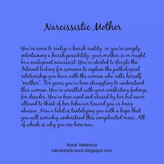 Malignant Narcissist Mother