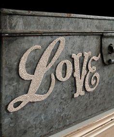 "Silver glitter ""Love"" wedding sign"