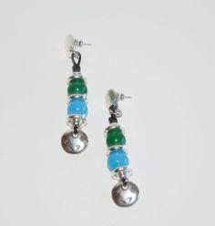 Thick silver plated zamak earrings, vintage style with green,blue, lampwork beads,leather earrings,long earrings, uno de 50 style by OtroAccesorio on Etsy
