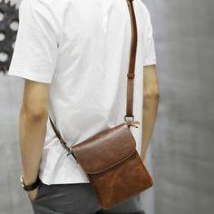 New Design Men Bags Handbag Crazy Horse PU Leather Bag Men Small Shoulder  Handbags Male Brand Designer Messenger Crossbody Bag dcac251a1ca1a